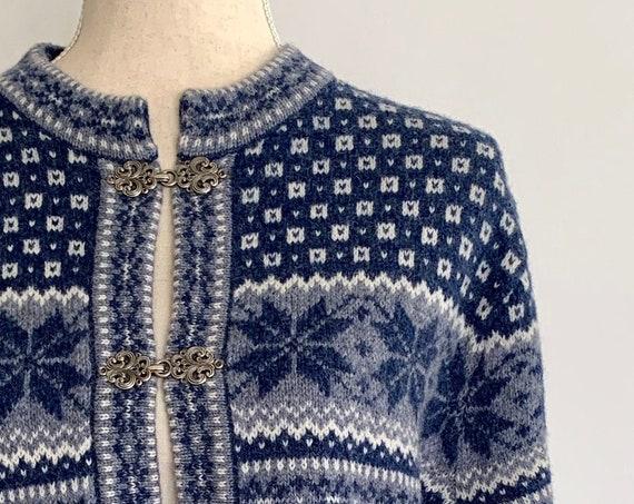 Wool Ski Sweater Nordic Style Cardigan Vintage Skyr Blue Natural White Snowflake All Wool Women's Outerwear