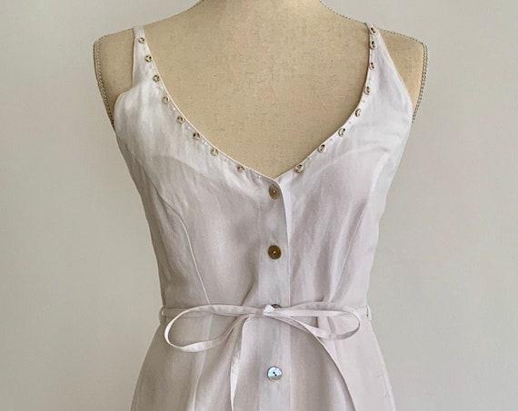 White Linen Dress Vintage Spaghetti Straps Shell Buttons Tie Waist Vintage 90s Designed in Paris Long Maxi Ankle Length Size XS