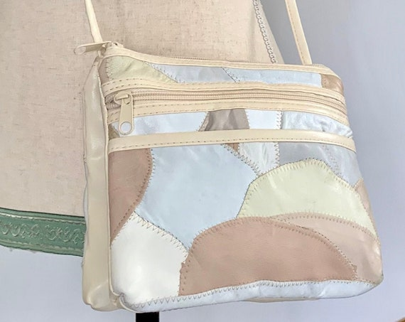80s Patchwork Leather Purse Shoulder Bag Crossbody Vintage Soft Pastel Colors Two Sections