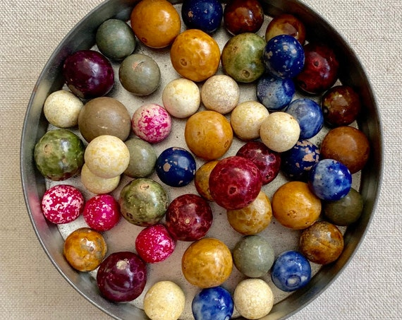 Antique Clay Marble Lot of 50 Multi Color Vintage Marbles in Round Tin Box 1800s Early 1900s Very Old Rustic Game