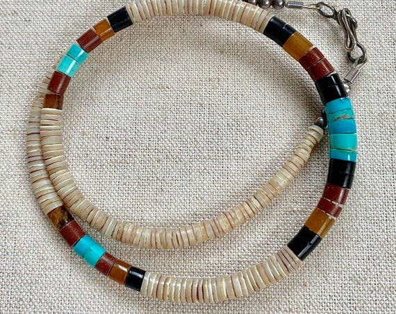 Old Heishi Turquoise Necklace Choker Vintage Native American Santo Domingo Rolled Turquoise Shell Jet Beads