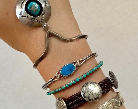 Vintage Turquoise Bracelet Cuff Native American Navajo Hand Stamped Sterling Silver Band
