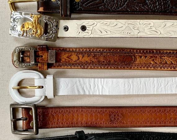 Distressed Tooled Leather Belt Vintage Leather Goods Brown Black White Belt Strap Buckle Western Mens Women's Belts