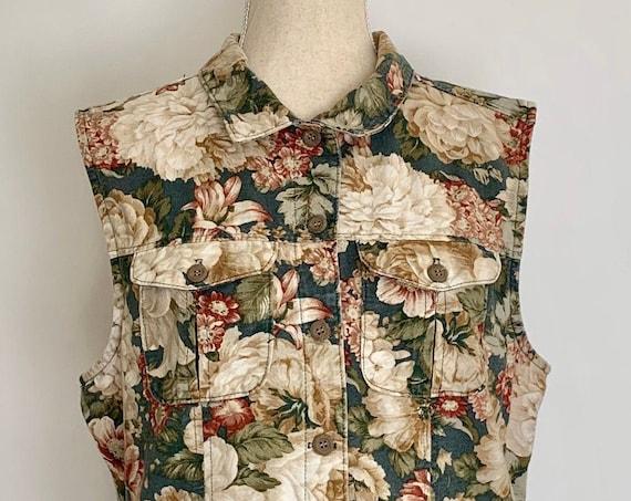Womens Floral Denim Vest Vintage 80s 90s Rose Flower Print GrungeSize S M