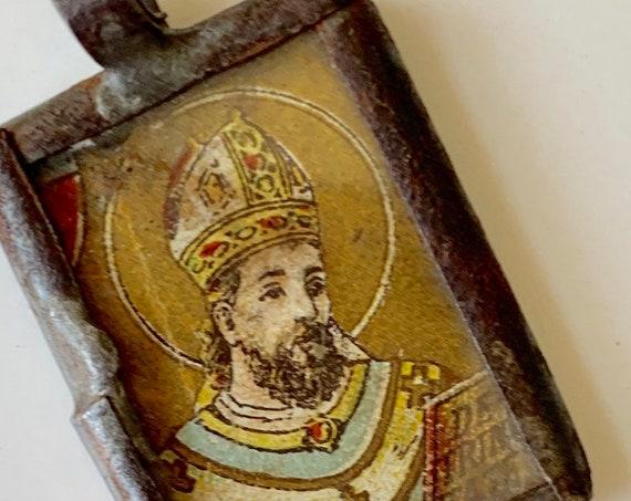 Old Religious Saint Pendant Icon Relic Santo Medal Nicho Antique Vintage Very Aged Patina Silver Iron Tin