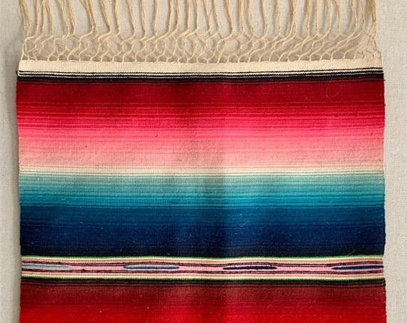 Antique Serape Saltillo Hand Woven Runner Textile Mat Wall Hanging Rug Colorful Mexican Fringe Vintage 30s 40s