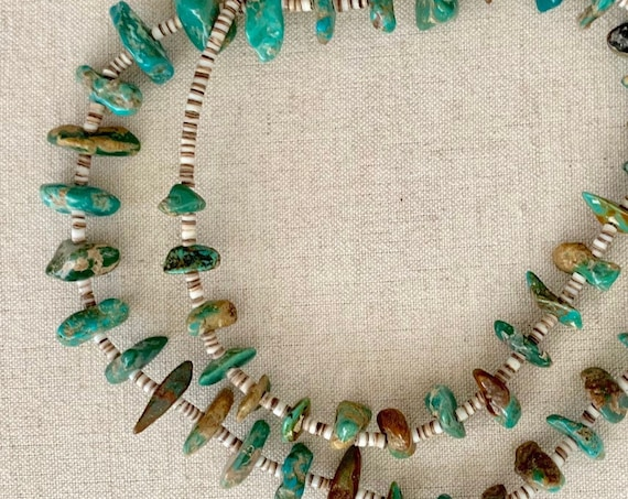 Long Turquoise Nugget Necklace Vintage Southwest Native American Santo Domingo Heishi Shell Stone Bead Beaded 28.5""