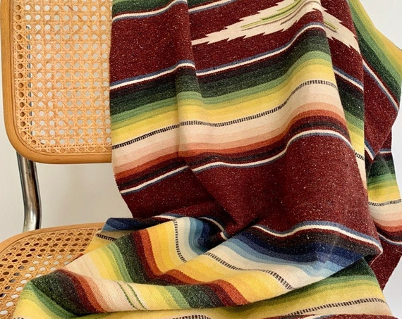 "60s Wool Mexican Serape Throw Blanket Runner Hand Woven Saltillo 5"" Fringe Heathered Burgundy White Blue Yellow Green Blush"