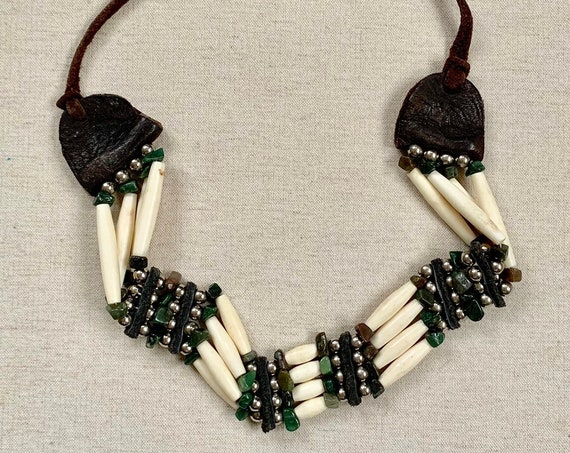 Old Bone Bead Choker Necklace Vintage Tribal Native Beaded Necklaces Distressed Leather Ties Boho Bohemian Jewelry