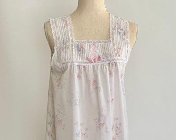 Barbizon White Floral Nightie Nightgown Vintage 60s Pastel Flower Lace Trim Pink Ribbon Lightweight Fabric Women's Nightwear Size XS S