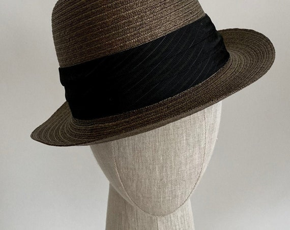 Handsome Fedora Hat Imported Italian Milan for The Union Department Store Khaki Brown Black Cocktail Party Wedding Derby