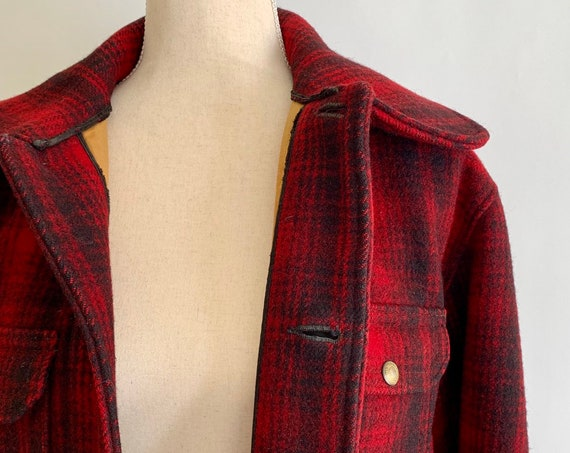 40s Woolrich Field Coat Hunter Jacket Antique Vintage 30s 40s Mens Heavy Duty Wool Mackinaw Red Black Plaid Great Condition Large L 42