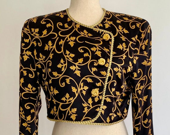80s Black Silk Bolero Evening Jacket Vintage Saks Fifth Avenue Constance Saunders for Richard Warren Gold Trim Buttons Women's XS