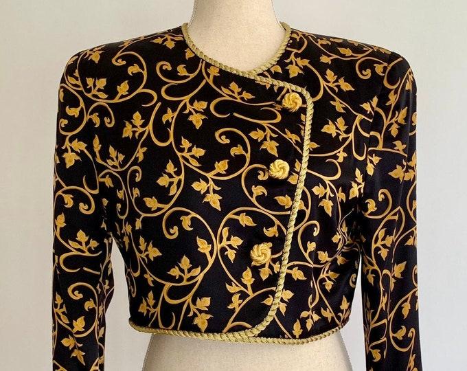 80s Black Silk Bolero Evening Jacket Vintage Saks Fifth Avenue Constance Saunders for Richard Warren Gold Trim Buttons Women's XS
