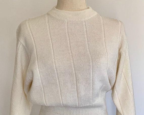 80s White Ski Sweater Vintage Nils Winter White Dolman Sleeves Wool Blend Women's Outerwear Size S