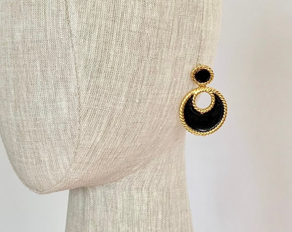 Large 80s Gold Earrings Vintage Napier Dangle Drop Earrings Black Enamel Gold Tone Statement Earrings