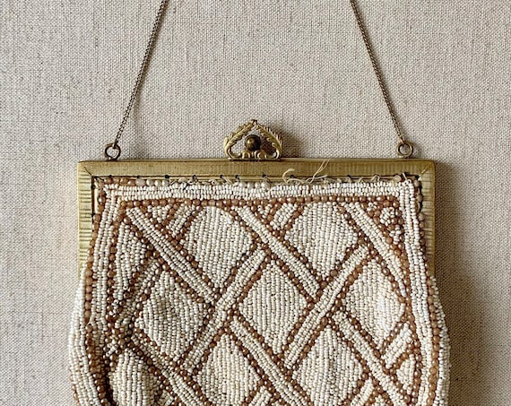 Small Antique Beaded Purse Vintage Handmade White Pearl Beads Gold Tone Clasp Chain Strap Tiny Bag Wedding Bridal