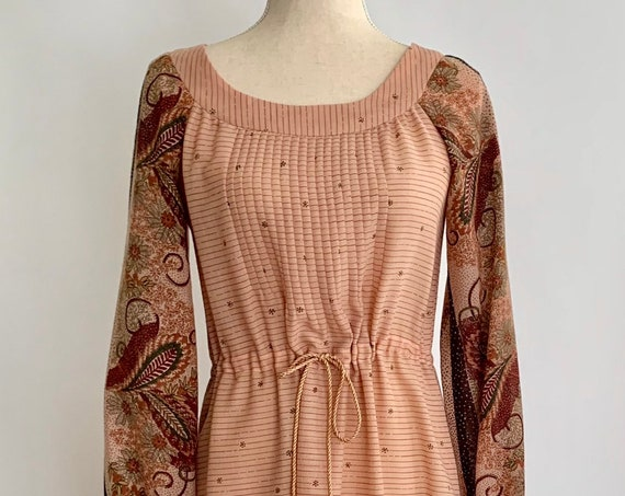 Boho Blush Maxi Dress Vintage 70s Tie Waist Brown Beige Paisley Tie Waist Matching Scarf Long Floor Length Size S