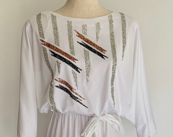 70s White Disco Dress Vintage Dresses Gold Silver Black Brushstroke Glitter Tie Waist Semi Sheer Size XS S