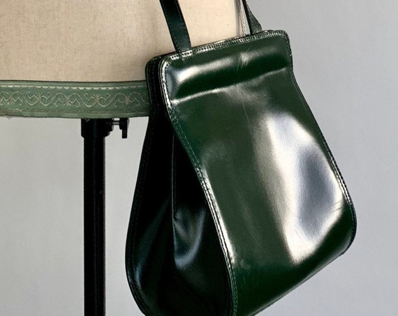 Dark Green Leather Purse Crossbody Bag Made in Italy Vintage Leather Goods Glossy Hunter Green Finish Minimalist Style