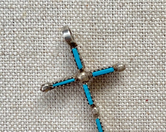 Reversible Turquoise Cross Pendant Vintage Native American Zuni Needlepoint Set Stones Red Coral Small Dainty Delicate