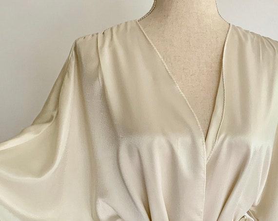 Short Ivory Satin Robe Nightgown Dressing Gown Vintage Jayre California White Cream Bridal Wedding Knee Length Tie Waist Size XS