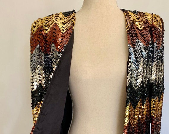 Sparkly Sequin Evening Jacket Blazer Vintage 80s Black Silver Gold Bronze Sequins Made in USA Party Cocktail Dress