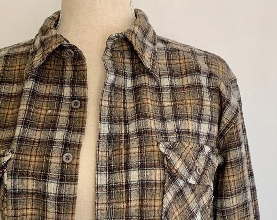 Pendleton Mens Work Shirt Vintage Plaid Made in USA Pendleton Woolen Mills Wool Workwear Lumberjack Gift for Him Size S