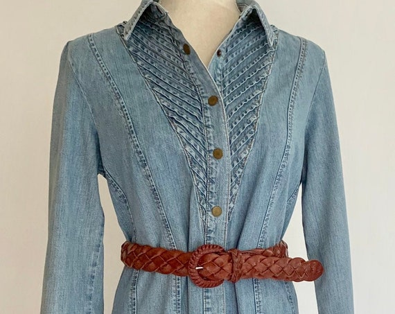 Vintage Denim Shirt Dress Vintage The Territory Ahead Pleated Neckline Button Front Braided Leather Belt Included Size S