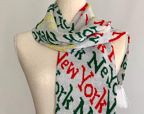 80s New York Scarf Vintage Souvenir Scarves White Red Green Yellow Knit with Fringe