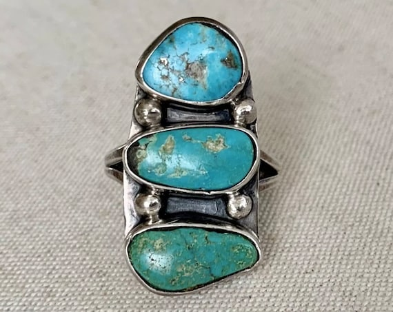 50's Navajo Turquoise Ring Triple Three Multi Stone Vintage Native American Sterling Silver Elongated Long Statement Ring Size 8