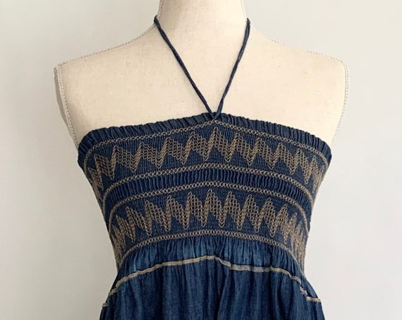 Indigo Denim Strapless Dress with Halter Neck Tie Vintage Free Size Summer Beach Cover Up Elastic Ruched Top Wood Beads