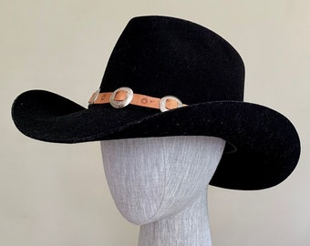 6a748ecc02f18 Wool Black Cowboy Hat Vintage Bradford Western Felted Wool Stamped Leather  and Concho Hat Band Mens Hats Size 7-1 4