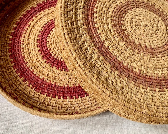 Antique Indian Basket Tray with Lid Shallow Bowl Coil Vintage Native American Handmade Coil Baskets Circle Round