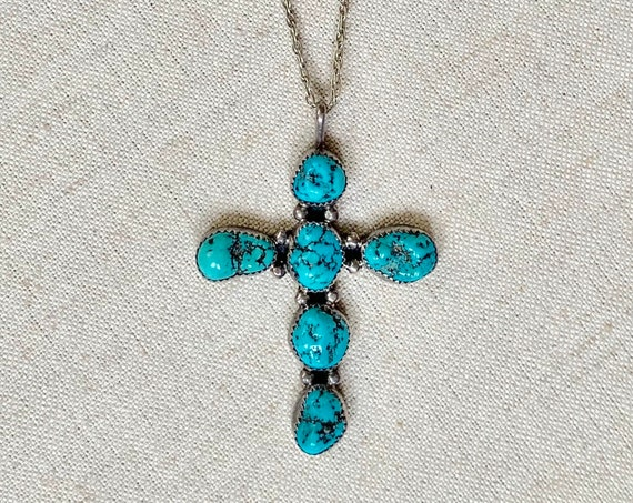 Turquoise Cross Pendant Necklace Vintage Native American Navajo Sterling Silver Catholic Religious Large Big Size