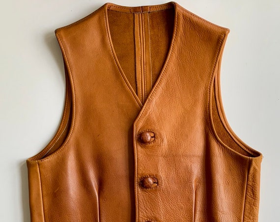 Western Tan Leather Vest Vintage Handmade Distressed Faded Patina Cognac Brown Leather Buttons Women's S M