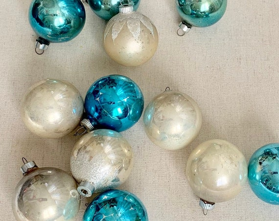 Blue Shiny Brite Ornaments Bulbs Lot of 12 in Original Box Vintage 50s Christmas Mid Century Christmas Tree