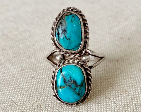 Double Turquoise Stone Ring Vintage Navajo Sterling Silver Statement Ring Size 6.75
