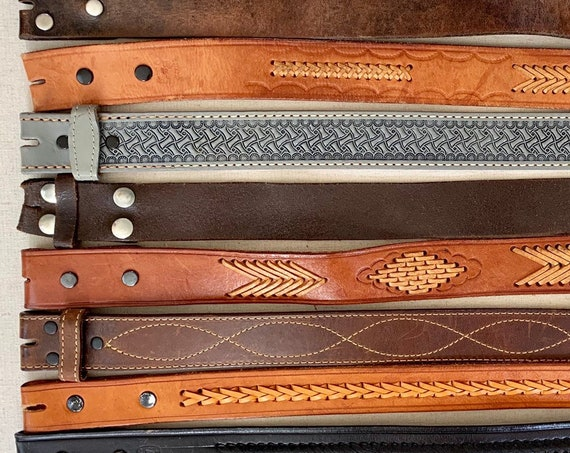 Distressed Leather Belt Strap Vintage Snap On Detachable Genuine Leather Western Rodeo Mens Women's Belts
