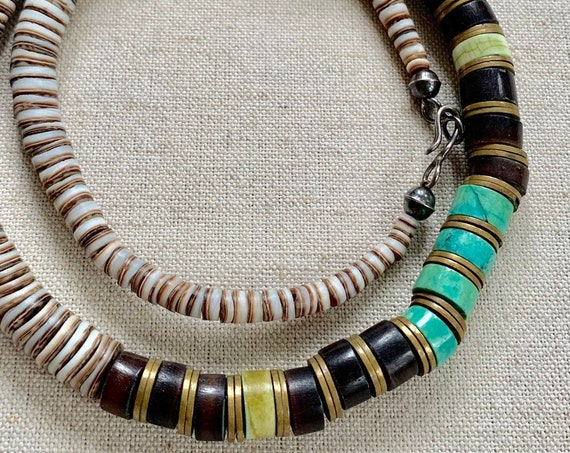 "Graduated Turquoise Heishi Necklace Vintage Antique Native American Santo Domingo Beaded 19"""