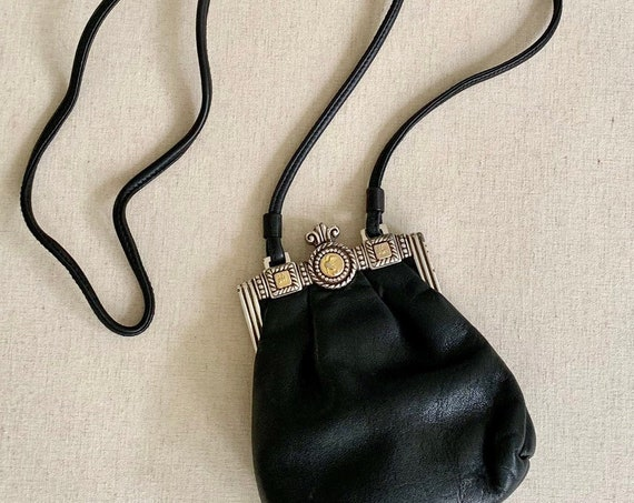 Black Leather Brighton Purse Crossbody Bag Pouch Vintage One World by Brighton Small Mini Size Rare Style