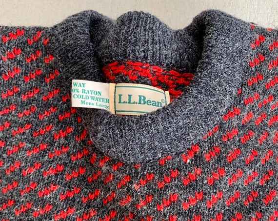 Mens Norwegian Wool Made in Norway Sweater Vintage LL Bean Red Charcoal Gray Crew Neck Pullover Size L Large