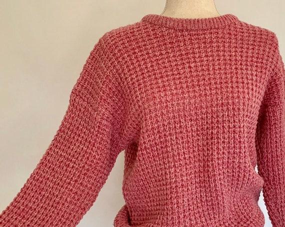 Pink Woolrich Wool Sweater Made in British Hong Kong Vintage Women's Sweaters Lofty Basketweave Knit Crew Neck