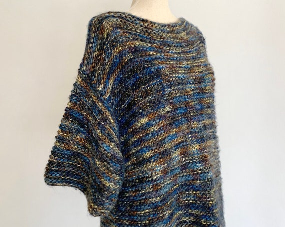 Hand Knit Sweater Tunic Handmade Vintage Midnight Blue Boat Neck Top Boat Neck Dolman Batwing Sleeve Women's Size M
