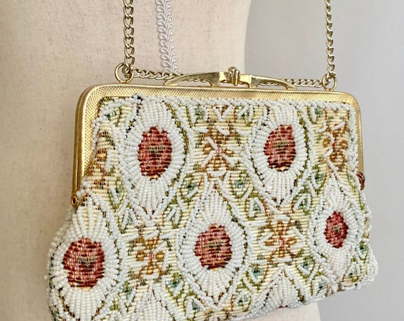 Walborg Tapestry Beaded Purse Hand Beaded in Hong Kong Vintage Wedding Bridal Floral Adjustable Chain Strap