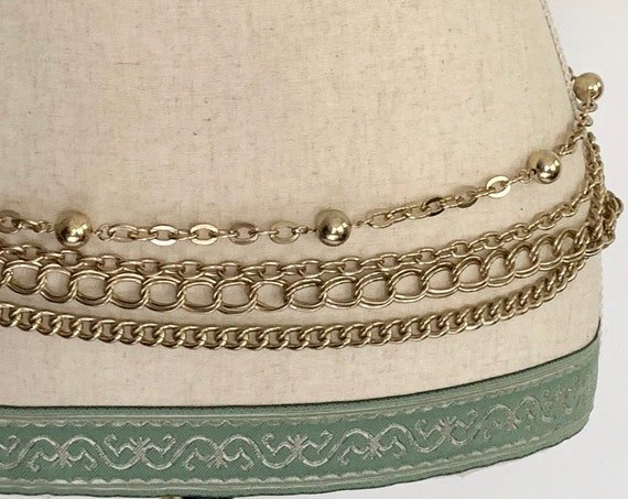 80s Gold Chain Belt Multi Strand 4 Strands Rock and Roll Vintage Costume Jewelry Adjustable Length Solid and Heavy
