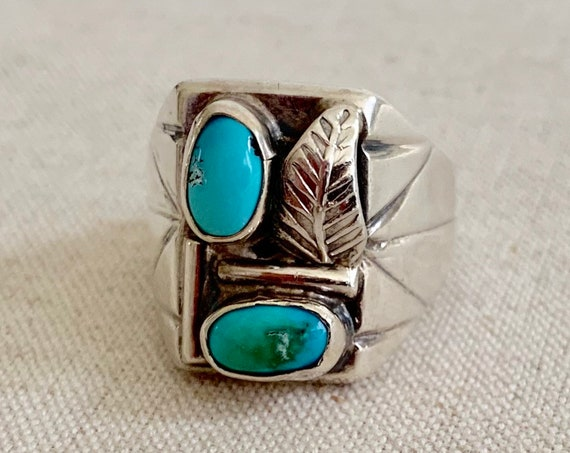 50s Navajo Turquoise Ring Sterling Silver Vintage Native American Wide Etched Band Signet Biker Style Mens Ring Size 11