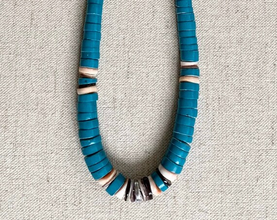 Boho Stackable Handmade Necklace Vintage Native American Heishi Style Graduated Turquoise Shell Beads