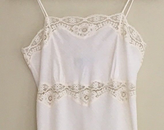 Long White Lace Nightgown Slip Nightie Vintage Lily of France Romantic Floor Length Size Small XS