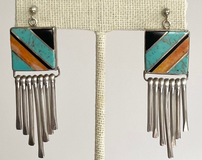 """Zuni Turquoise Inlay Earrings 2.25"""" Dangle Drop Vintage Native American Crafted Sterling Silver Spiny Oyster Turquoise Onyx Flush Inlay"""